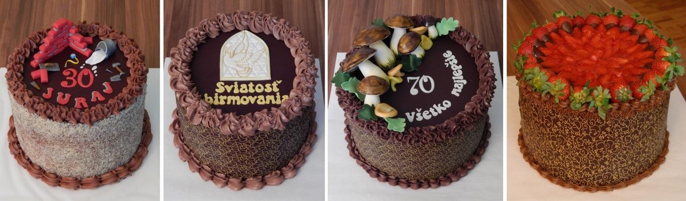 čokoládové nepoťahované torty